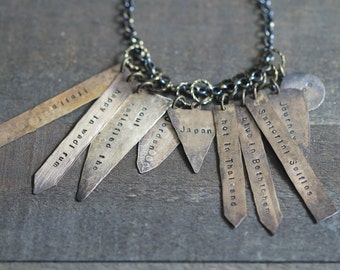 Personalized Message Tag Hand Hammered Raw Brass for Compass Necklaces by CoughingCowNChicken