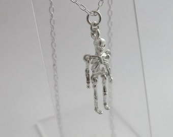 Sterling silver articulated skeleton necklace READY TO SHIP