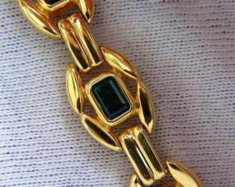7.64ct natural green emeralds link bracelet 14kt