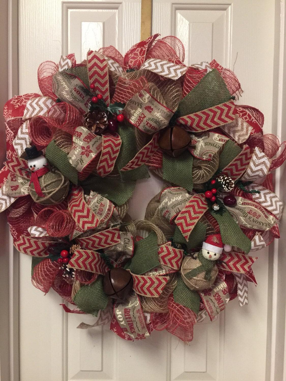 Deco Mesh Christmas Wreath Christmas Wreath by ...