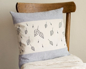 Black and White Striped Pillow Cover with Hand Painted Leaves, 16 x 16 Cushion Cover, Nature Inspired Home Decor