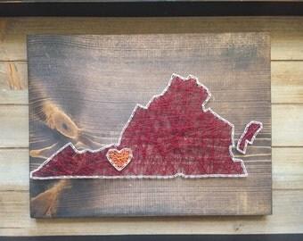 Made to order Virginia string art