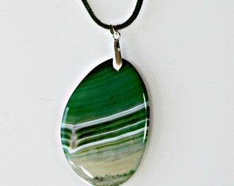 Agate Pendant Necklace - Green Polished Semi Sheer Stone / White Waves - Statement Necklace - Unique Jewelry Gift For Her Birthday / Wedding