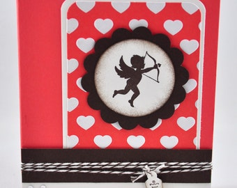 Valentine's Greeting Card, Love, Cupid, Arrow, Hearts, Coral, Brown, White, Twine, Valentine's Day, Be Mine, Loved One, Blank Inside