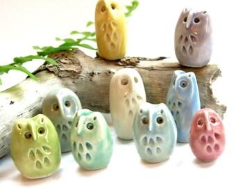 Porcelain Single OR 3 Piece Set, Ceramic Bird Lover Gift, Owl Lover, Miniature Sculpture, Pottery Figurine, Owl Ornament Stocking Stuffer