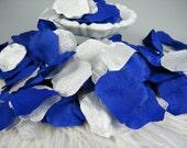 200 Silver & Royal Cobalt Blue Rose Petals | Little Prince Party Decorations | Artificial Petals | Table Centerpiece | Flower Girl Petals