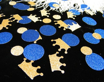Royal Prince Baby Shower Decoration / Crown Confetti Gold & Royal Blue Glitter/ Boy First Birthday Party Decoration / Little Prince / 100 ct