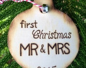 Mr & Mrs First Christmas Wooden Ornament Rustic Country Chic