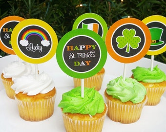 St. Patrick's Day Cupcake Toppers Printable - Instant Download - St. Patrick's Chalkboard Collection