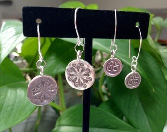ONE Pair Drop/dangle earrings, .999 pure silver.  *only larger size availabel*