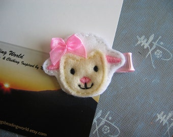 Lamb - Embroidered Felt Clippies - Felt Hair Clips - Pale Yellow, White, Pink