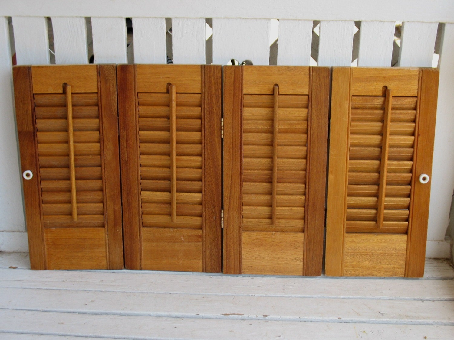 4 Panels Interior Wood Louver Shutters Crafts Wedding