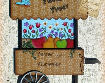 E PATTERN - Fruit and Flowers - Lovely Cart filled with Both! Colorful! Designed & Painted by Sharon Bond - FAAP