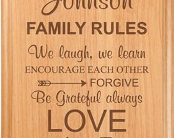 Engraved Family Rules Plaque - Engraved Solid Alder Wood - Wall Decor - Wedding Gift - Housewarming - Gifts for Mom - Anniversary gift