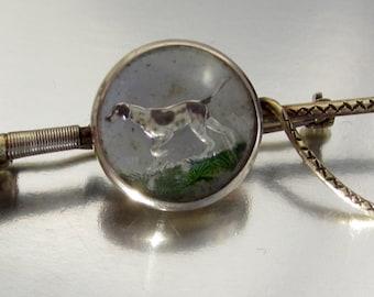 Antique Edwardian Essex Crystal Dog 14K Brooch Pin