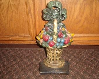 vintage large cast iron fruit basket doorstop very heavy