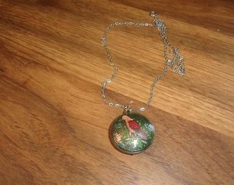 vintage necklace silvertone cloisonne parrot