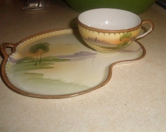vintage nippon handpainted tea cup teacup snack tray set
