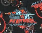 "Deadpool Fabric, Marvel Deadpool, 32"" by 44"", Deadpool Character, Tossed Deadpool,  Cotton fabric"
