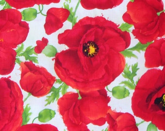 Poppies Fabric, Red Poppies,  Over Sized Poppies, Cotton Fabric, By the Yard