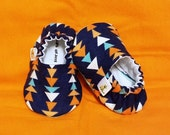 Triangle Print Baby Booties - Newborn, Infant, Baby Slippers, Crib Shoes, Footwear