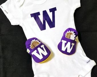 UW Baby Booties and UW Onesie - Huskies - Dawgs - from 0 - 18 Months