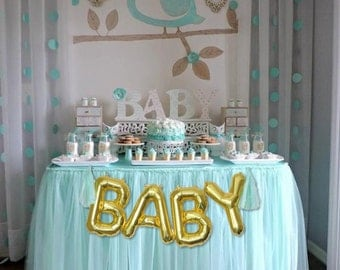 BABY Gold Mylar Balloons {Baby Shower, Gender Reveal decor, Pregnancy Announcement} With custom Tassles, BABY