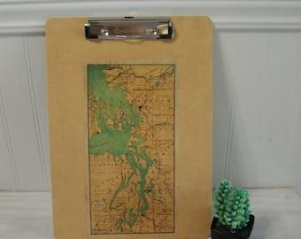 Puget Sound Map Clipboard / Vintage Puget Sound Map Clipboard / Office Map Clipboard / Puget Sound Vintage Map Art