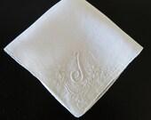 Vintage Hanky J Monogram Madeira Embroidery 206b