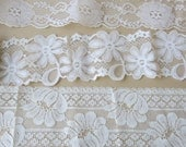 Lace Sampler 3 Bridal Galloon Laces Ivory and Blush Chantilly Style 15 Yards 878a
