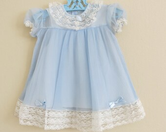 Baby Dress Blue Pleated Nylon Lace Trim Blue Underslip 12 to 24 Months 124b