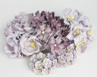 NEW ARRIVAL : 40 Mixed Size of Lilac Handmade Mulberry Paper Flowers Wedding Roses