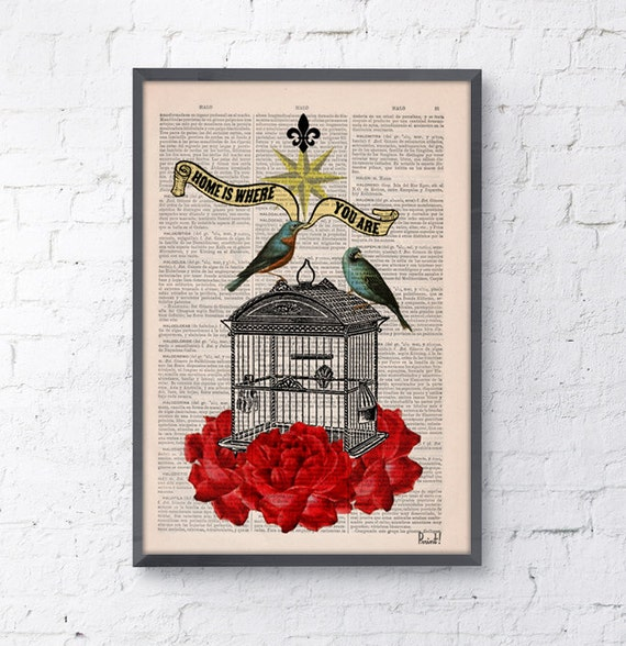 Summer Sale Blue birds cage with roses Upcycled book print on pages dictionary print collage  Print Vintage Dictionary Book ANI189b