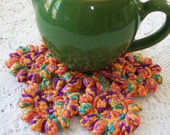Crochet Hot Pad - Yellow Crochet Trivet - Multi-Color Handmade Table Mat - Retro Kitchen Decor - Rustic Kitchen