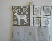 READY to SHIP/Christmas Advent Calendar/  in Reindeer and Snowflakes in Linen / Christmas Countdown Calendar with Pockets in Scandi 2 Fabric