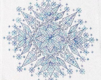 Frost Blackwork cross stitch pattern by SEBA Designs OPTIONAL silk threads Dinky Dyes at thecottageneedle.com hand embroidery blues Winter
