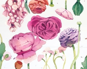 Flower Watercolor Art Painting - Vintage Romantic - Print