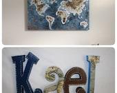 Wooden letters, Nursery letters, Wooden letters for nursery, 4 letter set, World map decor, Wood letters, Wooden letters for nursery