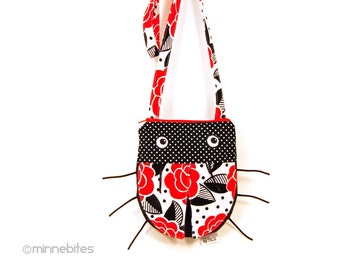 Birthday Gift for Kids - Ladybug Purse - Girls Cross Body Purse for Toddler Girls - Animal Bag - Frida Kahlo Red Flowers - Ready to Ship