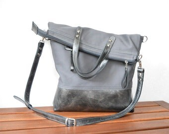 Leather tote bag, Unisex messenger, Charcoal grey cross body, Laptop carrier, Carry bag, unique gift for college students, birthday gift