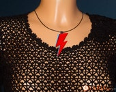 Tribute to David Bowie, handmade iconic lightning bolt leather pendant