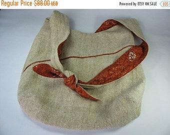 30% OFF Women's Large Messenger Bag Natural Oatmeal Silk and Vintage Cotton Burnt Orange OOAK Gifts for Women