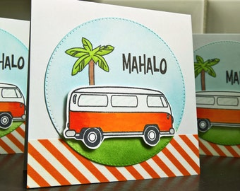 Summer Thank You Card Set of 3, Mahalo Cards, Hawaii Thank You Notes, VW Bus, Hippy Cards Set