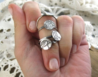 Floral Disc Ring // Fine Silver // Recycled Silver // Eco Friendly // Ready to Ship // Statement Ring // Nature Inspired
