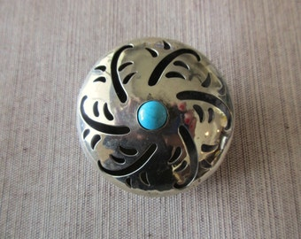 large sterling silver pin and pendant - domed, turquoise, cut out designs, brooch