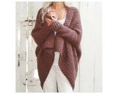 Brown Cuffed Shawl Cardigan  - Crochet Pattern - Instant Download Pdf