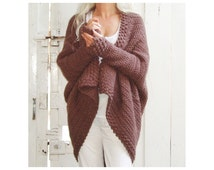 Brown Cuffed Shawl Cardigan  - Crochet Pattern - Instant Download Pdf