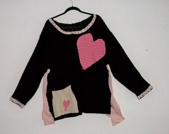 Colorblock Heart Sweater. Lagenlook Refashioned Tunic