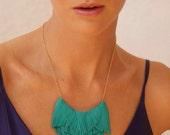 Tourquise Leather Fringe Necklace