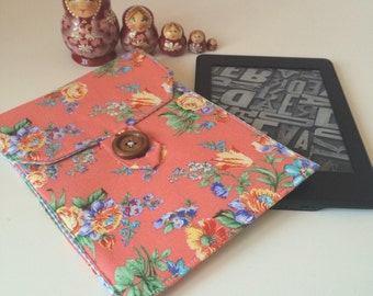 Kindle Paperwhite cover - Coral floral